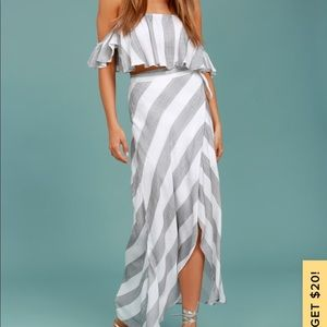 Wrapped maxi skirt and crop top set